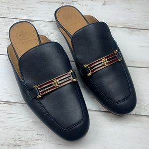 Tory Burch Amelia Loafer Mules Slides Navy 6 Gold